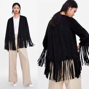 NEW Zara Faux Suede Fringe Jacket Black XS